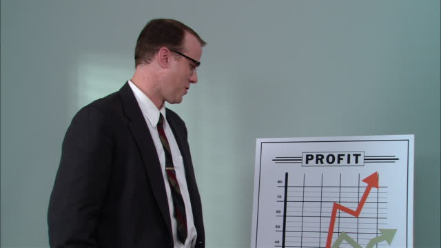 ms portrait businessman standing next to graph showing increase in profits, giving thumbs up and ok sign, buttoning jacket, and straightening tie/ new york city - formal businesswear stock videos & royalty-free footage