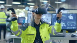 Portrait Female Mechanical Engineer Wearing Virtual Reality Headset and Making Gestures with Controllers, She Uses VR technology for Industrial Design, Development and Prototyping in CAD Software.