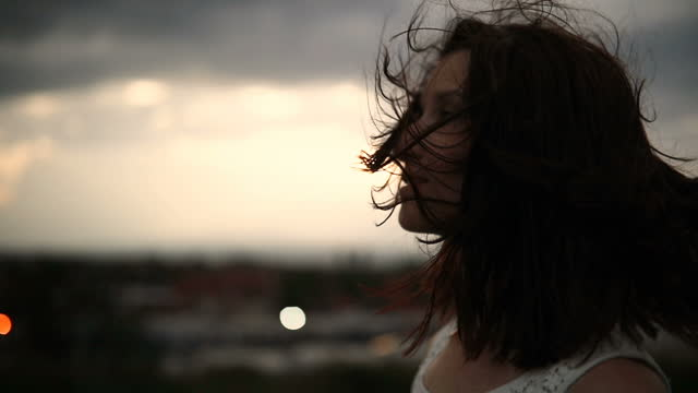portrait in the wind - looking away stock videos & royalty-free footage