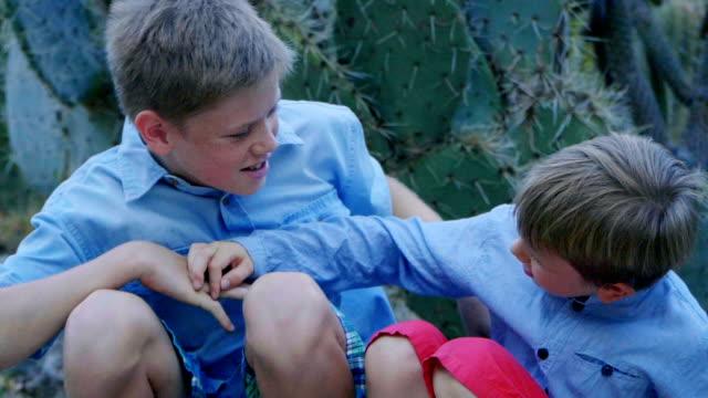 portrait of 2 boys - cute cactus stock videos & royalty-free footage
