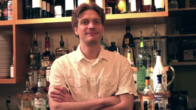 portrait of a bartender. - catering occupation stock videos & royalty-free footage