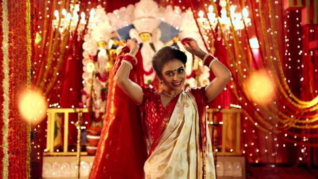 portrait of a bengali woman celebrating durga puja festival, delhi, india - sari stock videos and b-roll footage