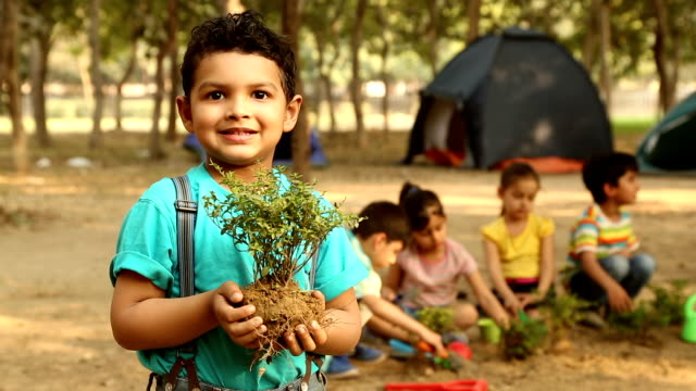portrait of a boy gardening, delhi, india - suspenders stock videos and b-roll footage