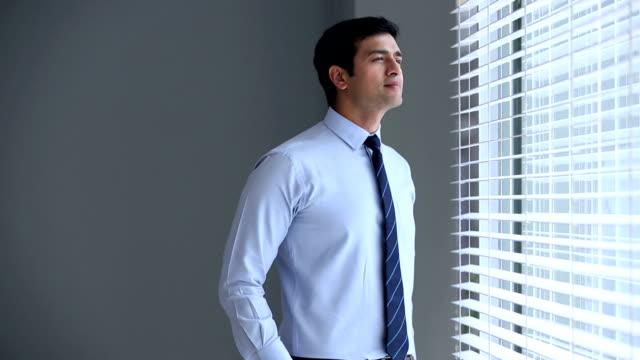 portrait of a businessman smiling, delhi, india - シャツとネクタイ点の映像素材/bロール