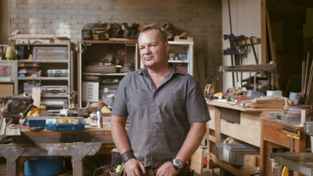 portrait of a carpenter (slow motion) - workbench stock videos & royalty-free footage