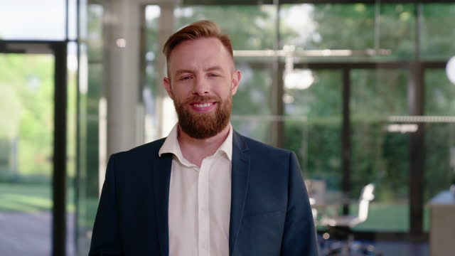 portrait of a confident businessman with beard - formal businesswear stock videos & royalty-free footage