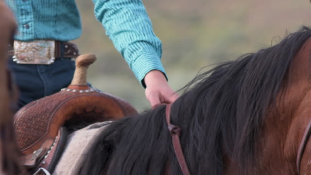 portrait of a cowgirl from hands to her face - utah stock videos & royalty-free footage