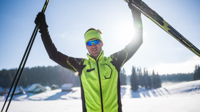 portrait of a cross country skiing winner - 4k resolution stock videos & royalty-free footage
