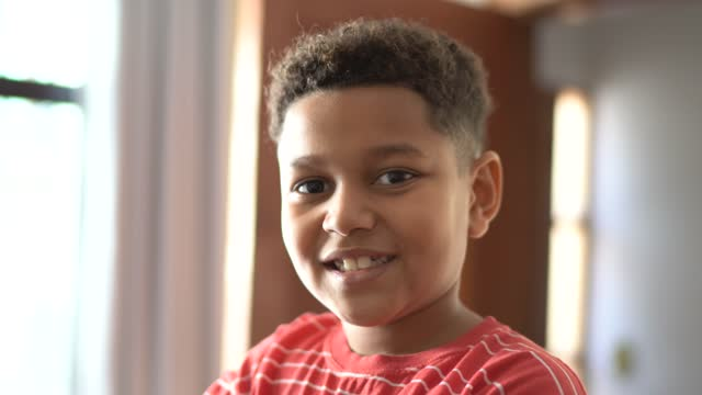 portrait of a cute boy at home - one boy only stock videos & royalty-free footage