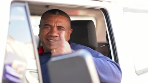 portrait of a driver - thumbs up stock videos & royalty-free footage