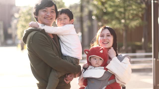 portrait of a family of four - east asian ethnicity stock videos & royalty-free footage