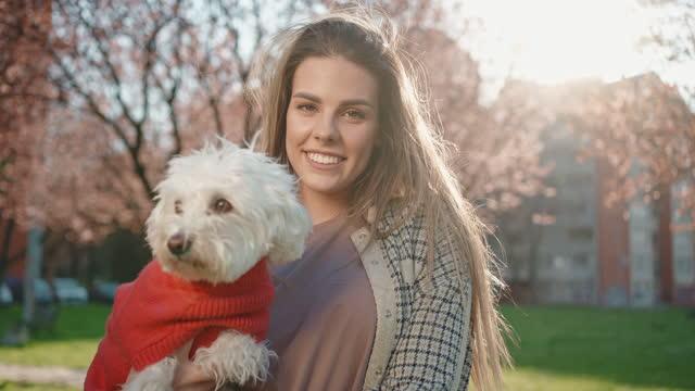 porträtt av en fashionabel omtänksam ung kvinna, som håller sin moderna maltesiska hund, under solig dag i den offentliga parken - knähund bildbanksvideor och videomaterial från bakom kulisserna