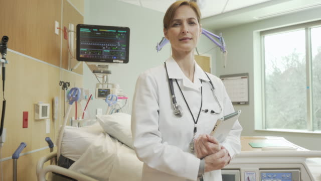 Portrait of a female doctor in a hospital ICU