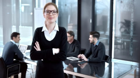 vídeos y material grabado en eventos de stock de ds retrato de una mujer de diseño de miembros del equipo de producción - liderazgo
