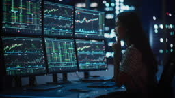 Portrait of a Financial Analyst Working on Computer with Multi-Monitor Workstation with Real-Time Stocks, Commodities and Exchange Market Charts. Businesswoman at Work in Investment Broker Agency.