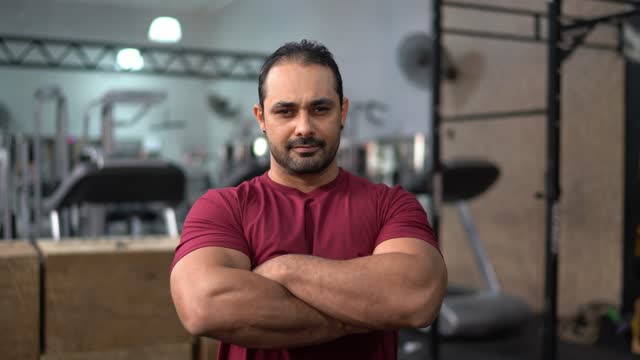 portrait of a fitness instructor or athlete in the gym - males stock videos & royalty-free footage
