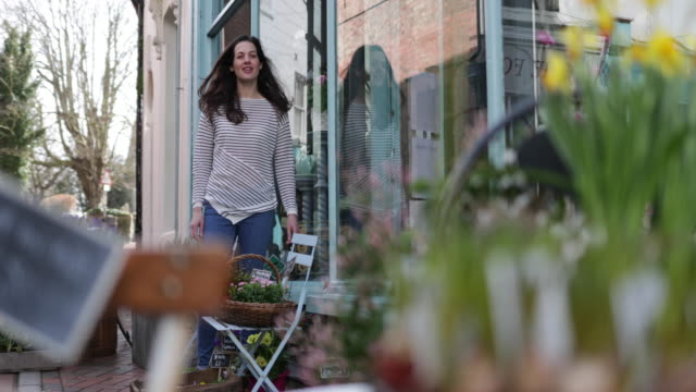 portrait of a florist outside store - full length stock videos & royalty-free footage