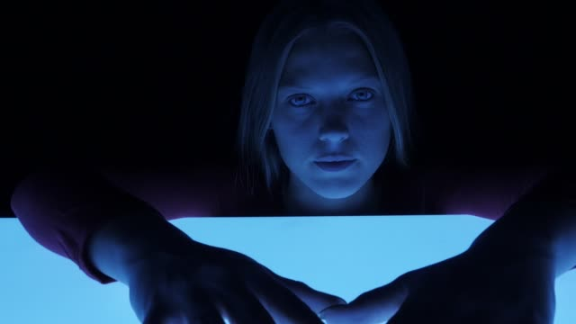 portrait of a girl. futuristic mood - fluorescent light stock videos & royalty-free footage