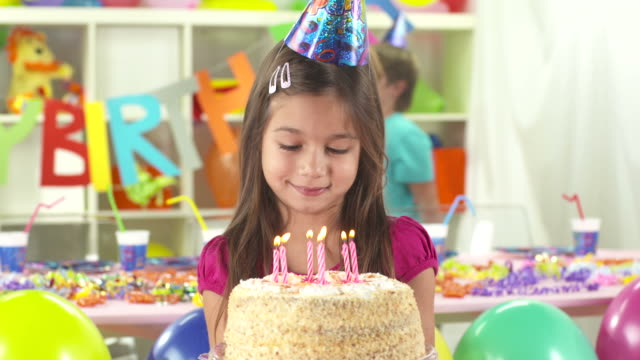 HD DOLLY: Portrait Of A Girl Holding Birthday Cake