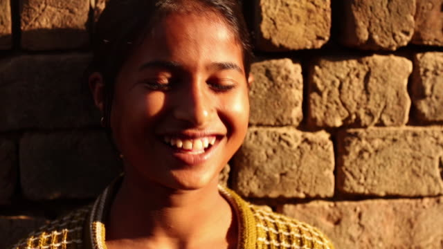 portrait of a girl laughing, ballabhgarh, haryana, india - teenagers only stock videos & royalty-free footage