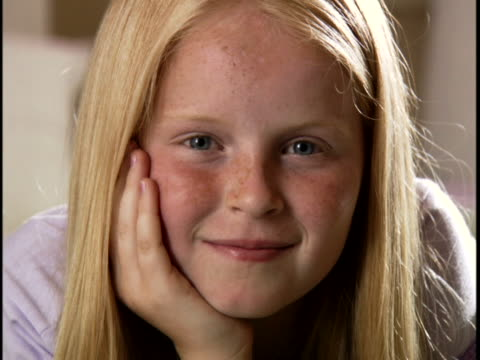 portrait of a girl smiling - pre adolescent child stock videos and b-roll footage