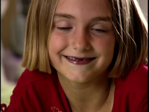 portrait of a girl smiling - mid length hair stock videos & royalty-free footage