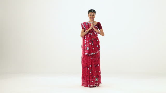 portrait of a gujrati woman welcoming  - respect stock videos and b-roll footage