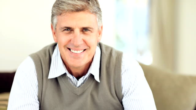 portrait of a happy mature man - one mature man only stock videos & royalty-free footage