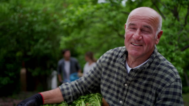 portrait of a happy senior farmer - farmer stock videos & royalty-free footage