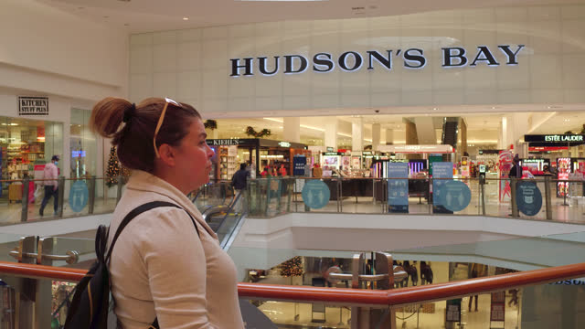 portrait of a hispanic woman by the hudson bay store in the scarborough town centre seen on november 7, 2020; in toronto, ontario, canada. the... - 40 seconds or greater stock-videos und b-roll-filmmaterial
