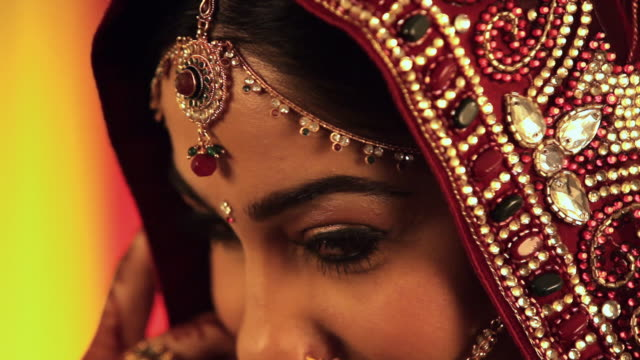 portrait of a indian bride feeling shy  - bride stock videos & royalty-free footage