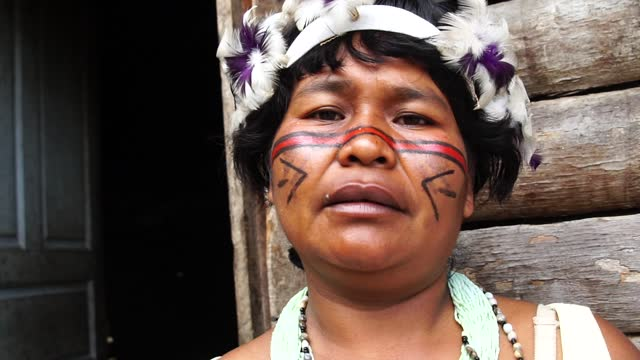 portrait of a indigenous mature woman from tupi guarani tribe - village stock videos & royalty-free footage