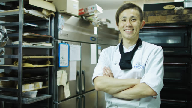 portrait of a japanese baker - catering occupation stock videos & royalty-free footage