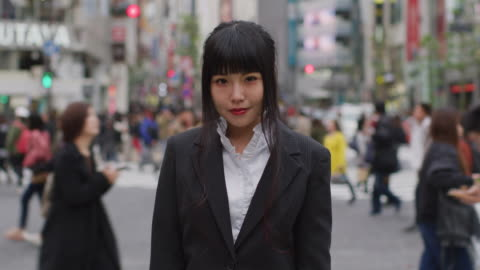 portrait of a japanese businesswoman / tokyo, japan - shibuya crossing stock videos & royalty-free footage