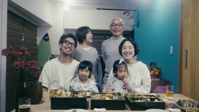 portrait of a japanese family on new year's eve - family with two children stock videos & royalty-free footage