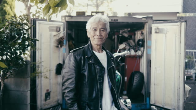 portrait of a japanese senior biker - motorbike stock videos & royalty-free footage
