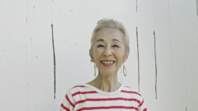 portrait of a japanese senior woman - offbeat stock videos & royalty-free footage