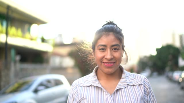 portrait of a latin woman in the street - peruvian ethnicity stock videos & royalty-free footage