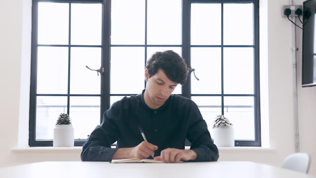 portrait of a male designer (slow motion) - blocco per appunti video stock e b–roll
