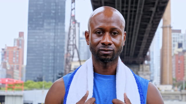 portrait of a male sporter in new york - wearing a towel stock videos & royalty-free footage