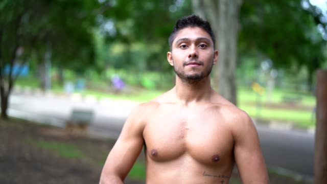 portrait of a man after exercising at the park - peruvian ethnicity stock videos and b-roll footage
