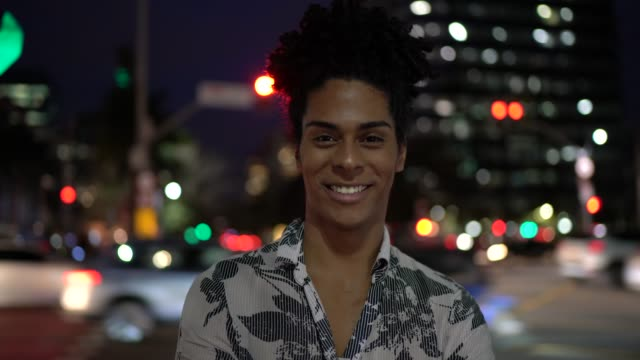 portrait of a man at night, outdoors - curly stock videos & royalty-free footage