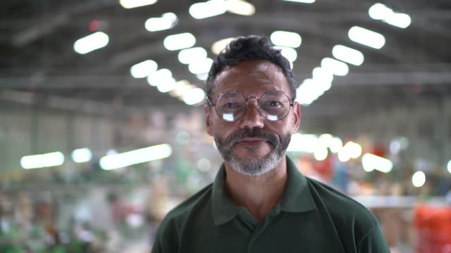 portrait of a man in a factory - manager stock videos & royalty-free footage