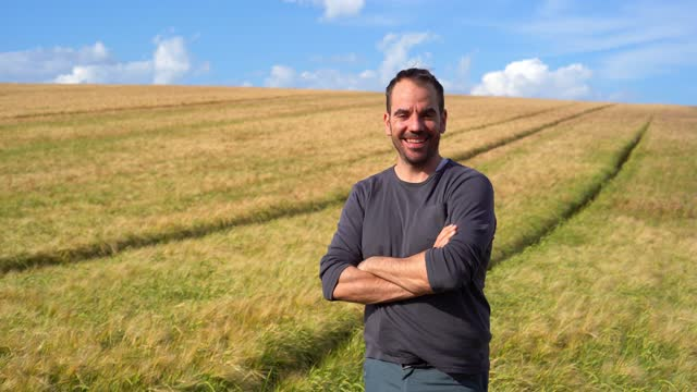 portrait of a man in a wheat field - landscaped stock videos & royalty-free footage