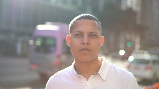 portrait of a man in an avenue - avenida paulista stock videos & royalty-free footage