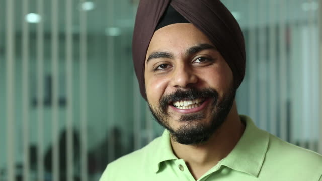 portrait of a man smiling - turban stock videos & royalty-free footage