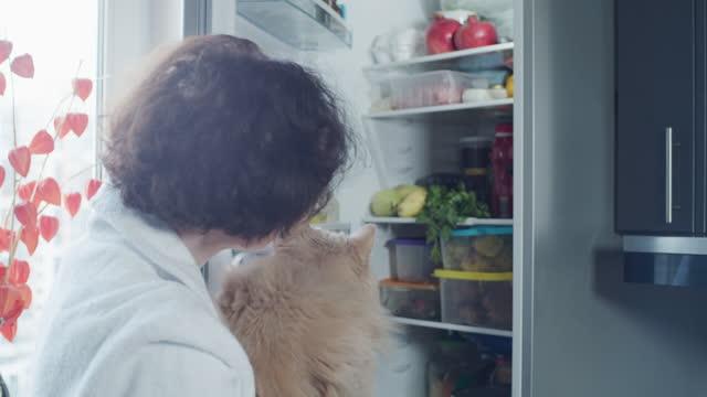 vídeos de stock, filmes e b-roll de retrato de uma mulher madura segurando um gato e olhando para a geladeira - geladeira
