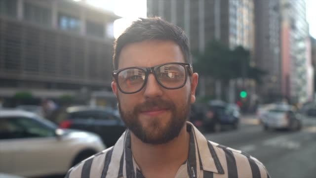 portrait of a mid adult man in an avenue - eyewear stock videos & royalty-free footage