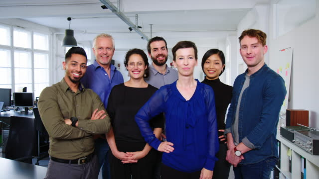 portrait of a multi-ethnic business team - standing stock videos & royalty-free footage