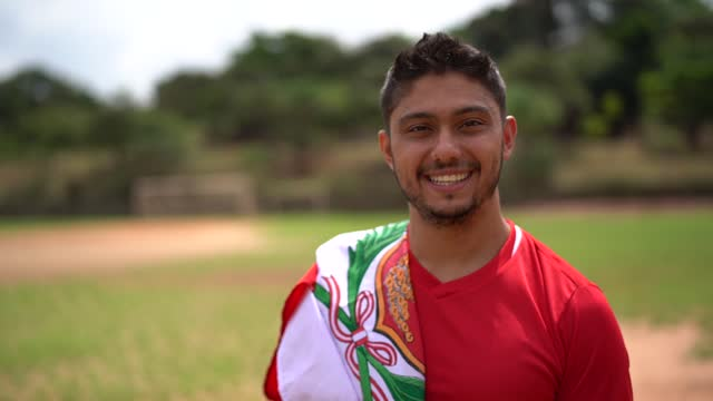 portrait of a peruvian soccer man outdoor - peruvian ethnicity stock videos & royalty-free footage
